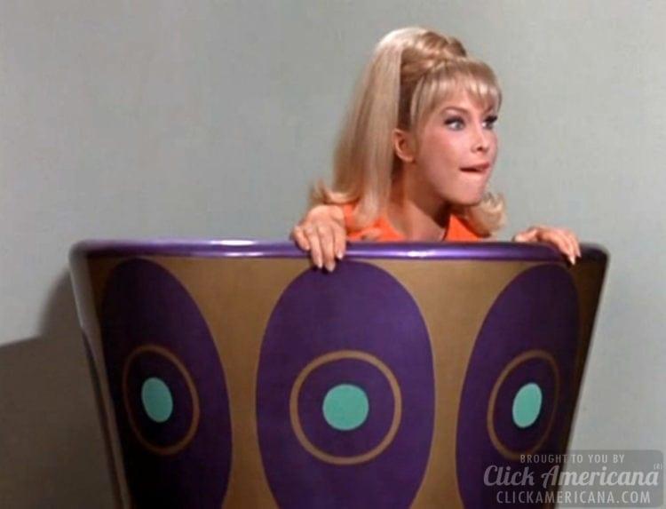 Actress Barbara Eden on sitcom set