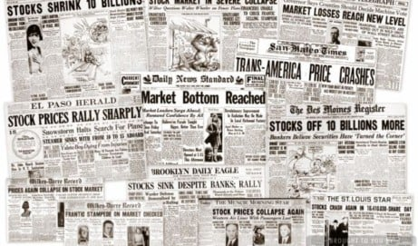 The Great Depression: Newspaper headlines from the stock market crash (1929)