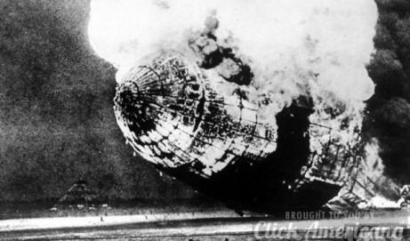 Zeppelin Hindenburg explodes, falls (1937)