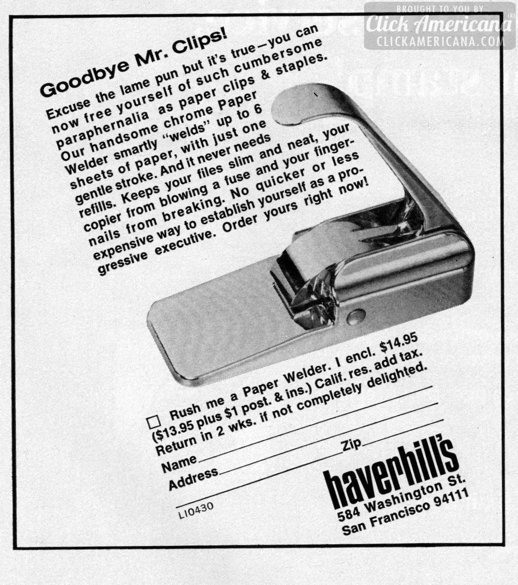 Goodbye Mr Clips: Get the new Paper Welder (1971)