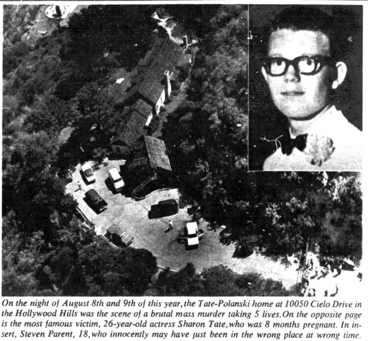 10050 Cielo Drive - Tate Murders - Inset of Steven Parent