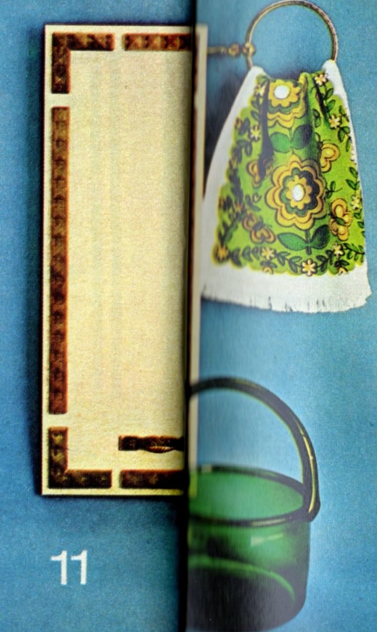 11. Plastic molding and vinyl fabric wallcovering, then green accents