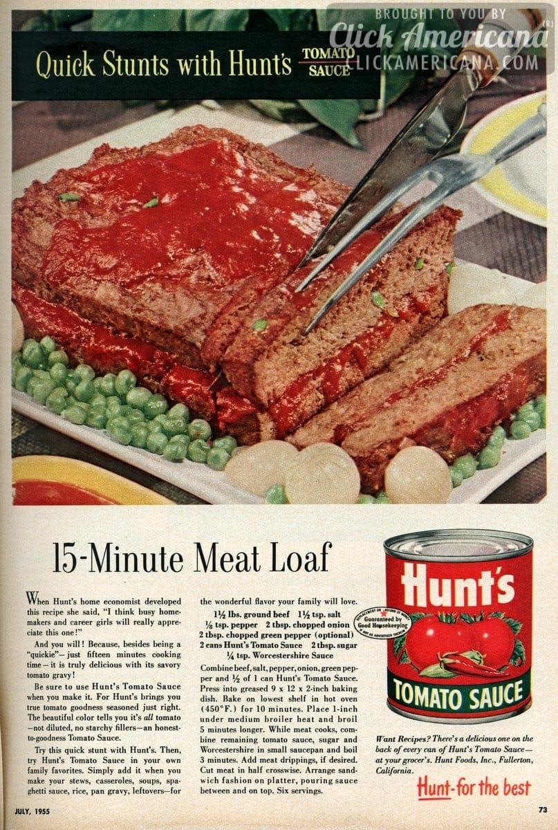 15 Minute Meat Loaf Recipe 1955 Click Americana