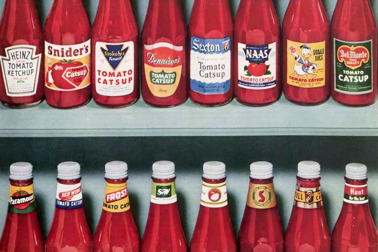 16 vintage catsup brands from the '50s