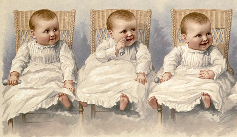 1800s Baby with 3 Facial Expressions