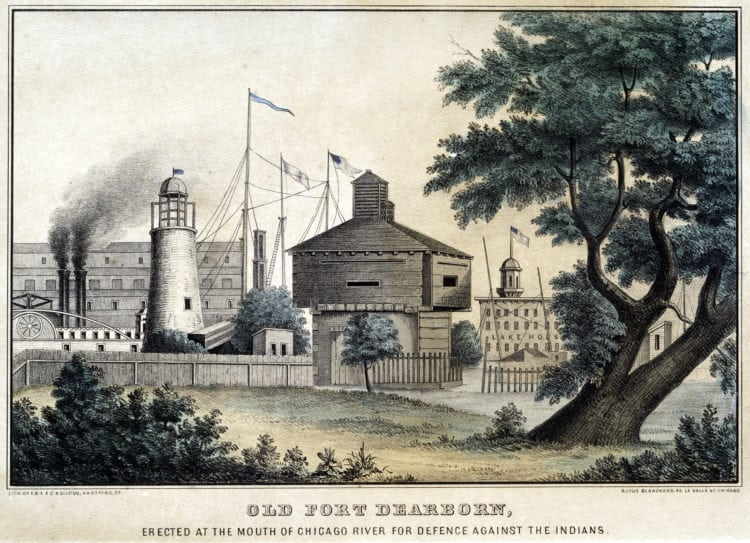 1856 Chicago Old Fort Dearborn, erected at the mouth of Chicago River