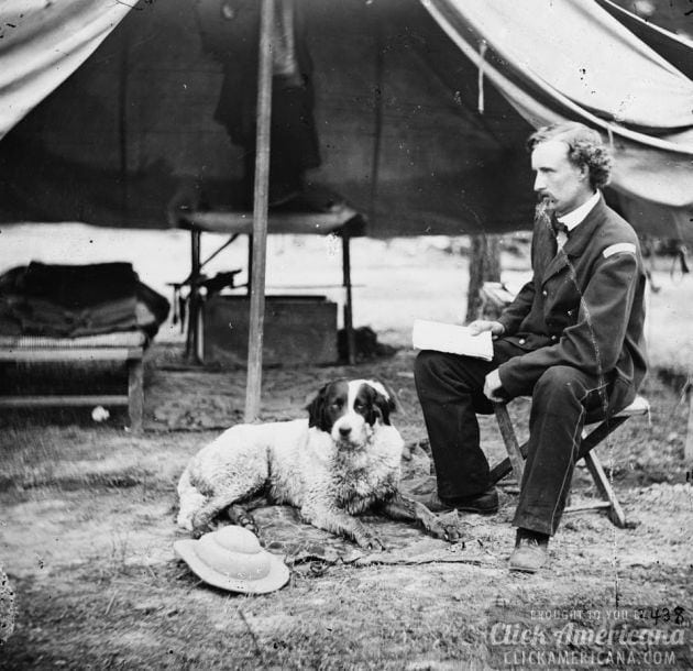 1862 - The Peninsula, Va. Lt. George A. Custer with dog