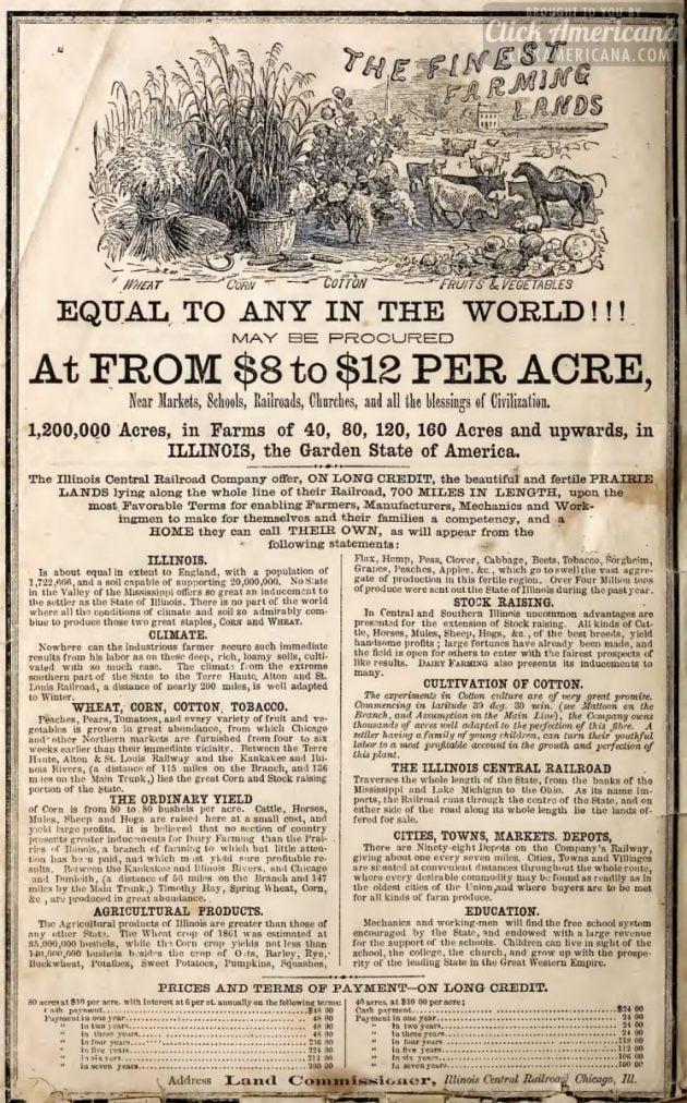 1863 illinois finest farm lands for sale