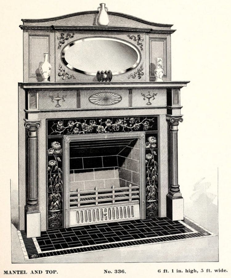 Old fireplace mantels and grates
