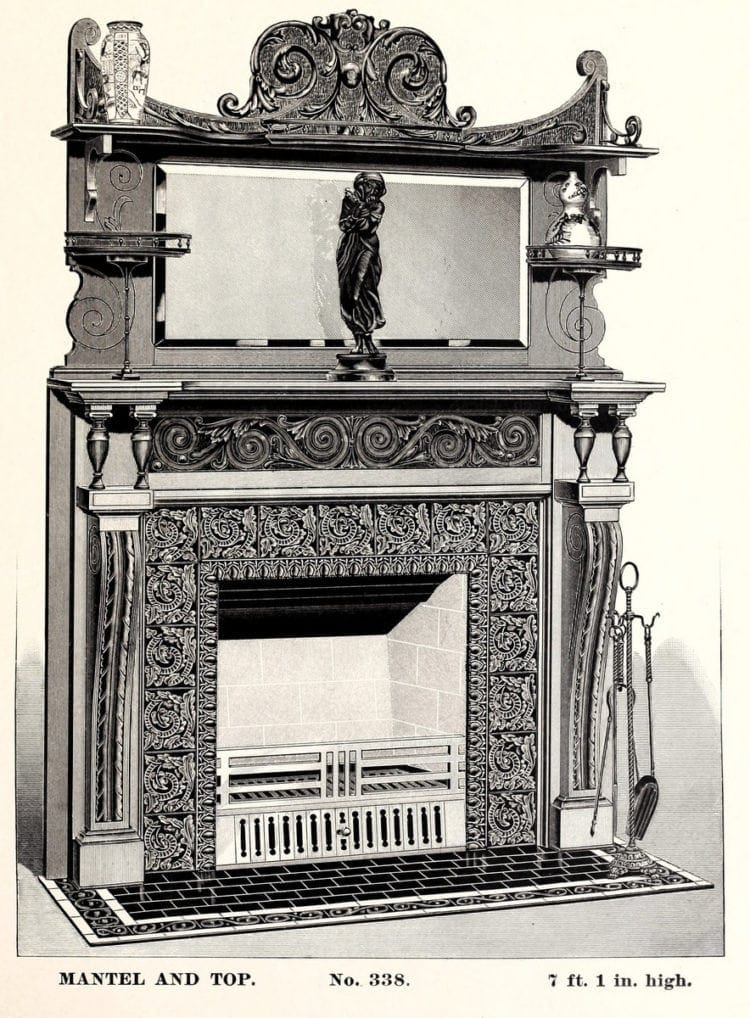 Antique fireplace mantels and grates
