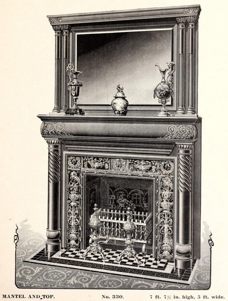 Old-fashioned fireplace for the home