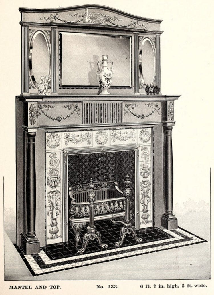 antique fireplace with decorative mantel