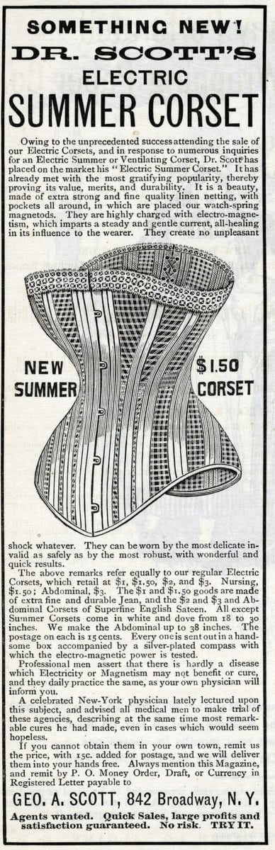 1888 Something New Dr. Scott'S Electric Summer Corset