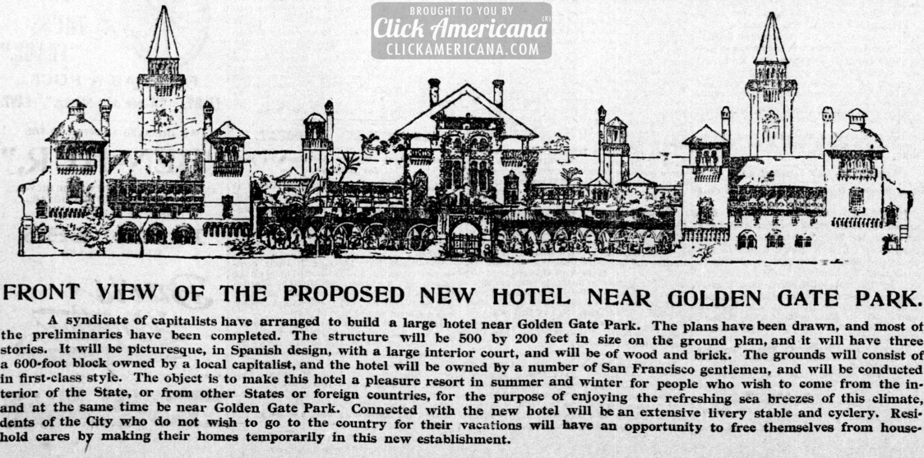 Hotel Proposed For San Francisco S Golden Gate Park 1895 Click Americana