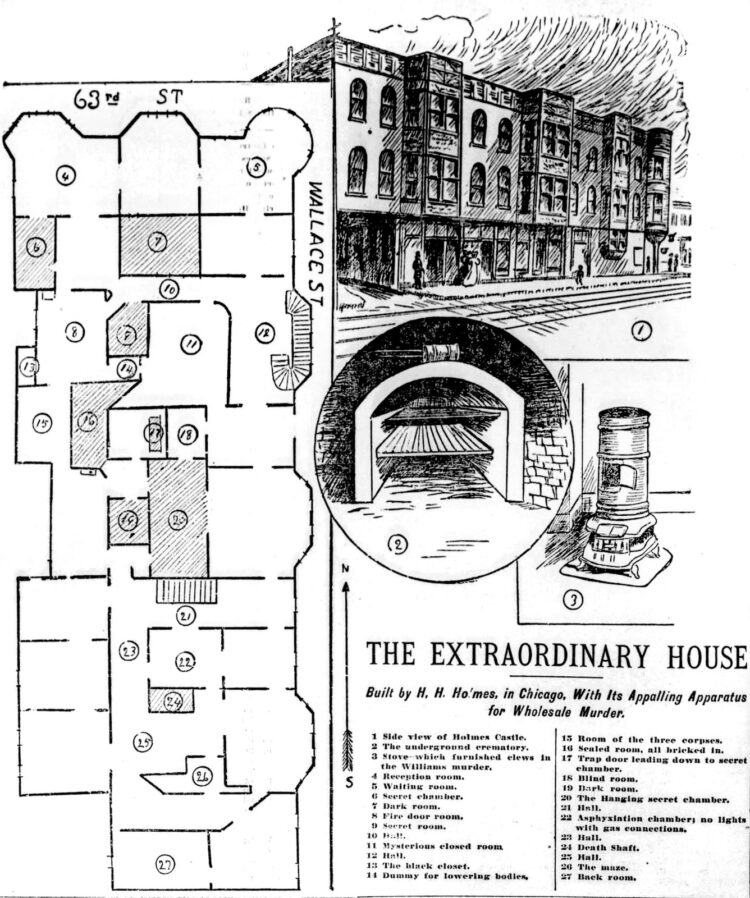 1895 illustration and map of the Chicago H H Holmes Murder Castle from St Louis newspaper