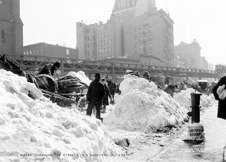 Cleaning off the streets in NYC after a blizzard (1899)