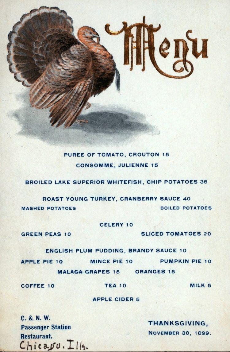 1899 Victorian Thanksgiving dinner menu Chicago