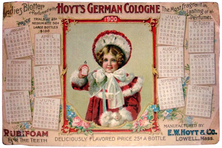 1900 Calendar - Hoyt's German Cologne