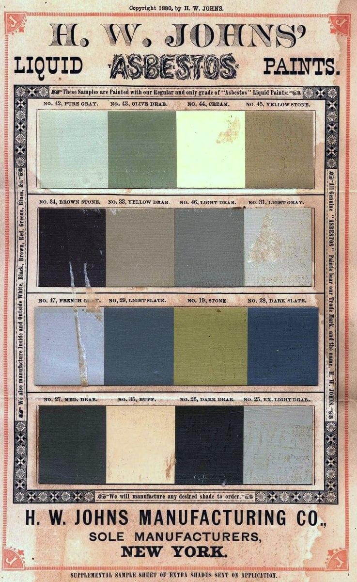 1900 H. W. Johns' liquid asbestos paint Victorian house paint color sample cards