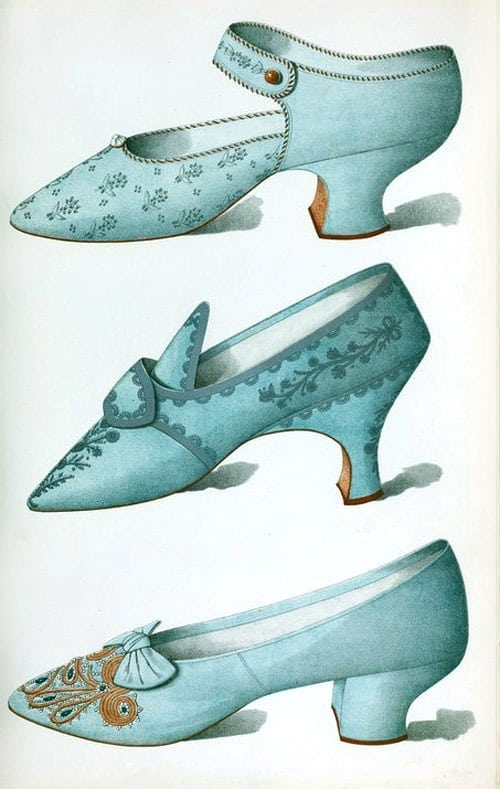 Victorian womens' shoes in blue (1900)