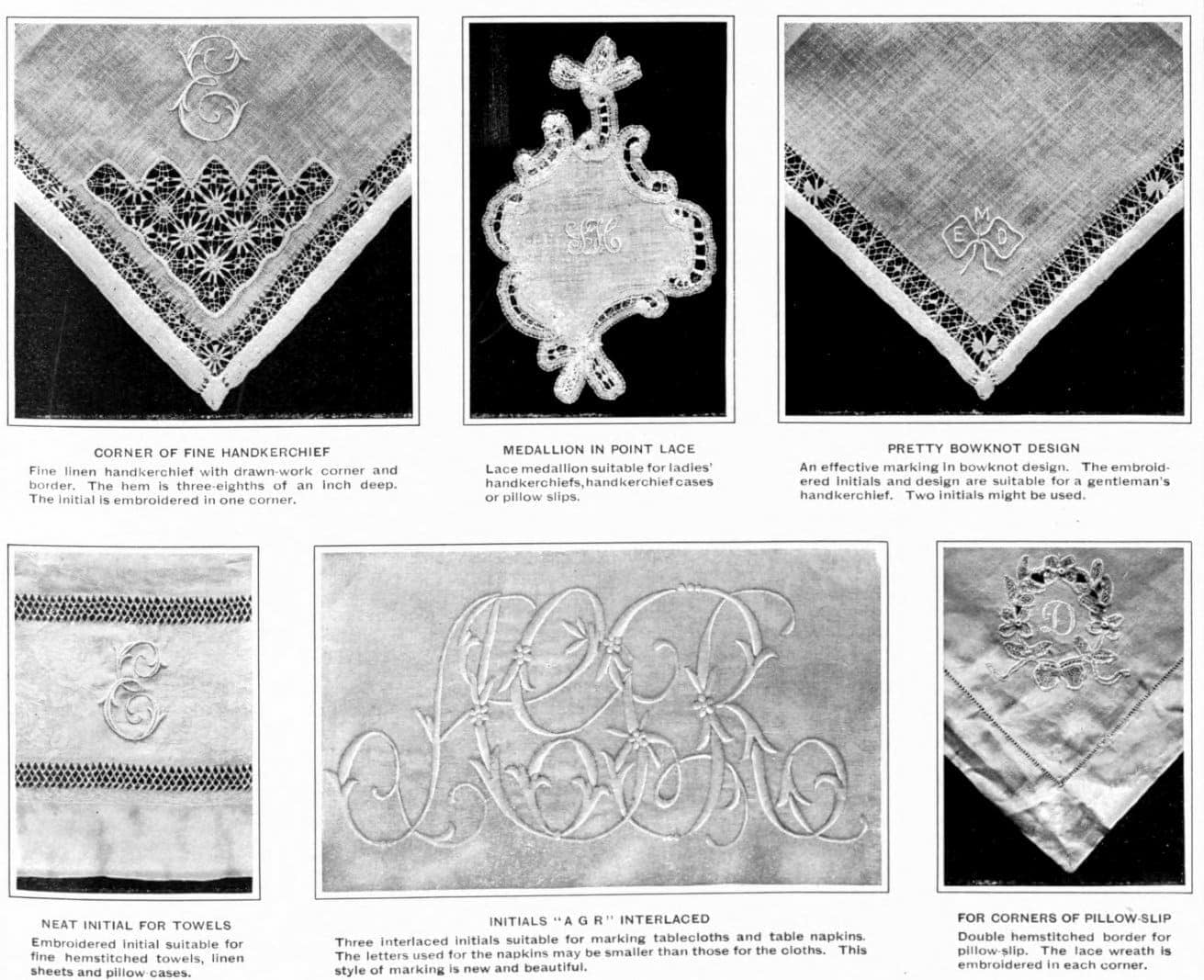 1903 Monogramming linens for the hope chest