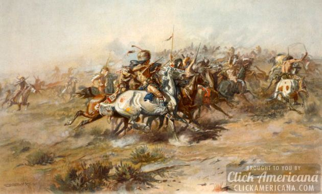 19030 - The Battle of the Little Bighorn, showing Native Americans on horseback in foreground.