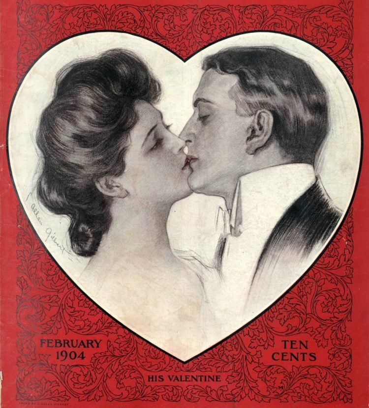 1904 couple kissing valentine
