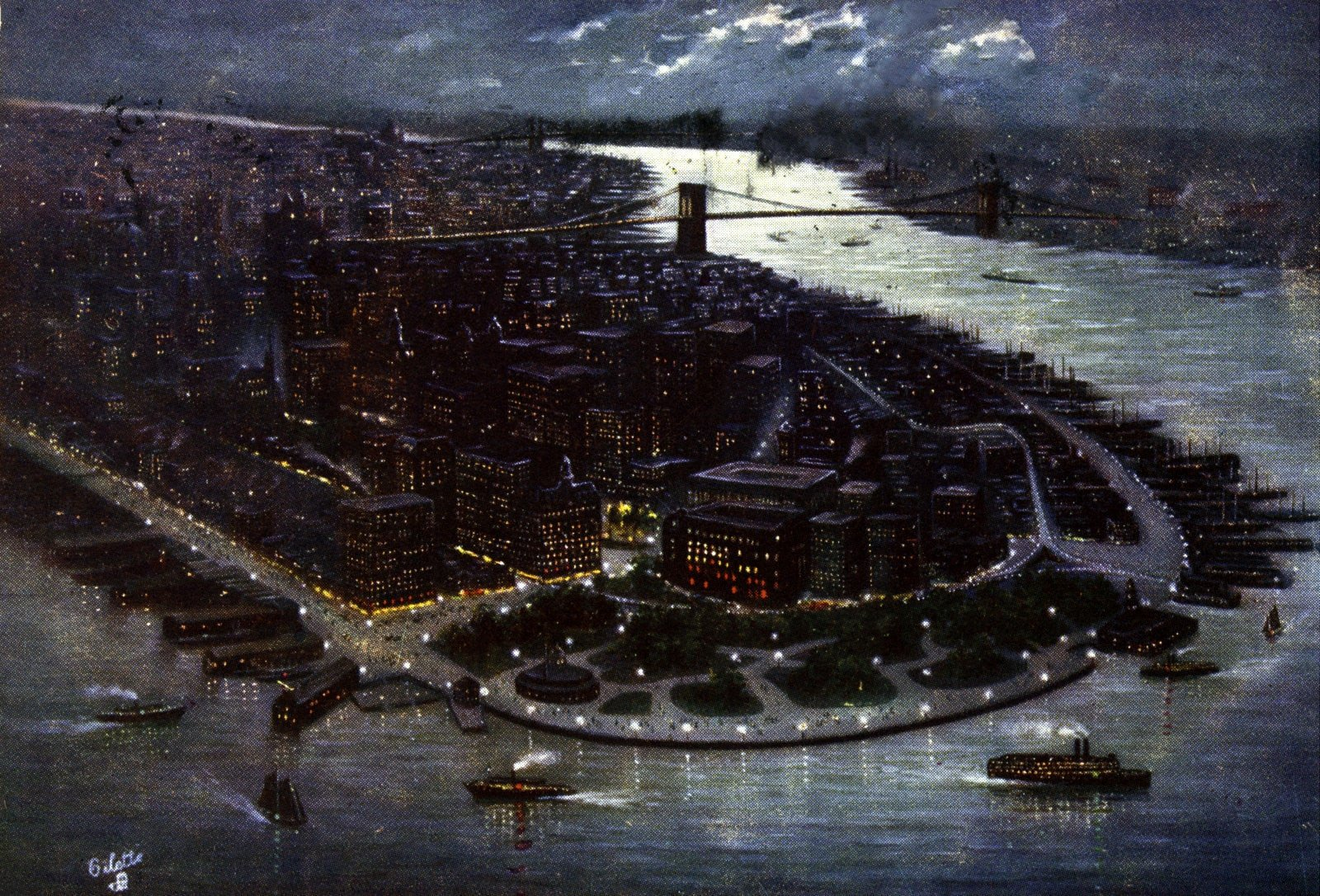 1906 NYC at night - Bird's-eye view of the southern part of the city
