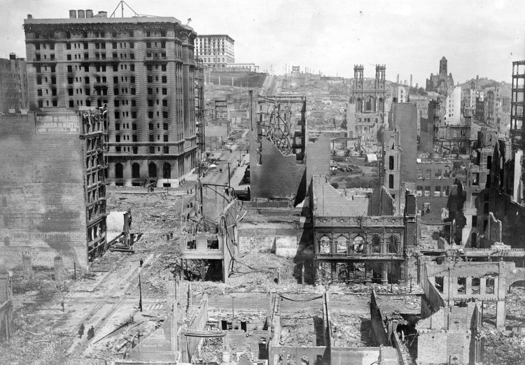 1906 San Francisco Earthquake - Francis Hotel, Fairmount Hotel in distance showing clean sweep of fire in business sections