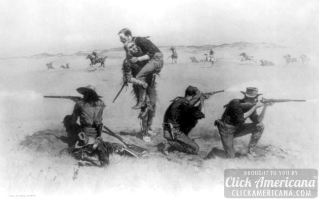 1907 - George Custer, kneeling on left, and soldiers shooting at indians; soldier in center is carrying a wounded soldier.