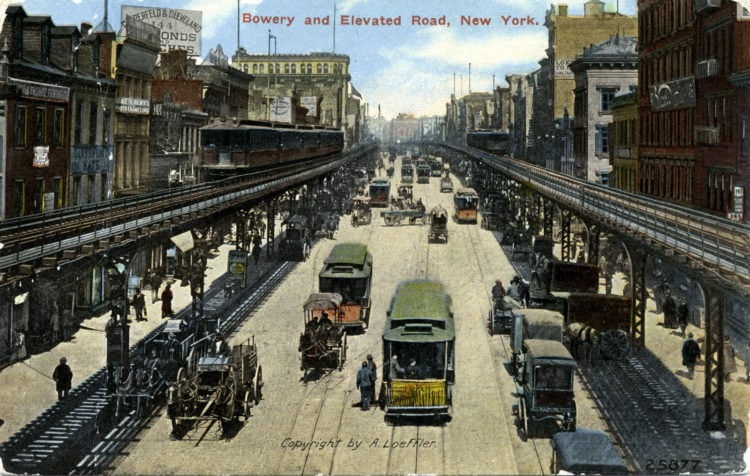 1909 NYC Bowery and elevated road - New York City for a career