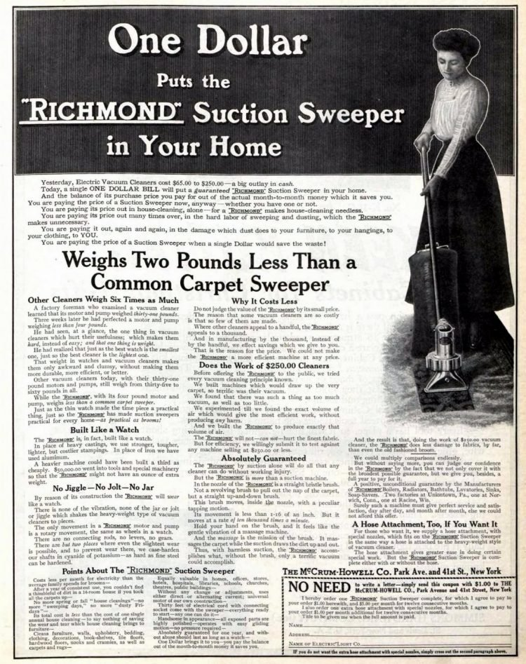 1909 vintage ad for Richmond Suction Sweeper vacuum