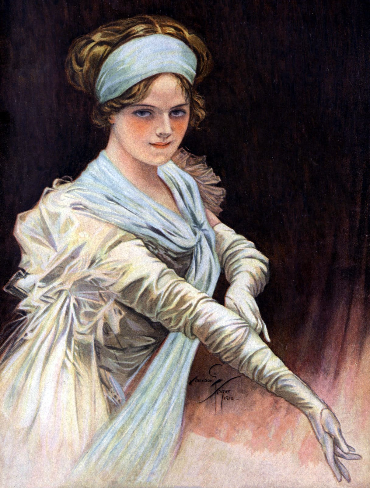 Woman with vintage evening gloves (1910)
