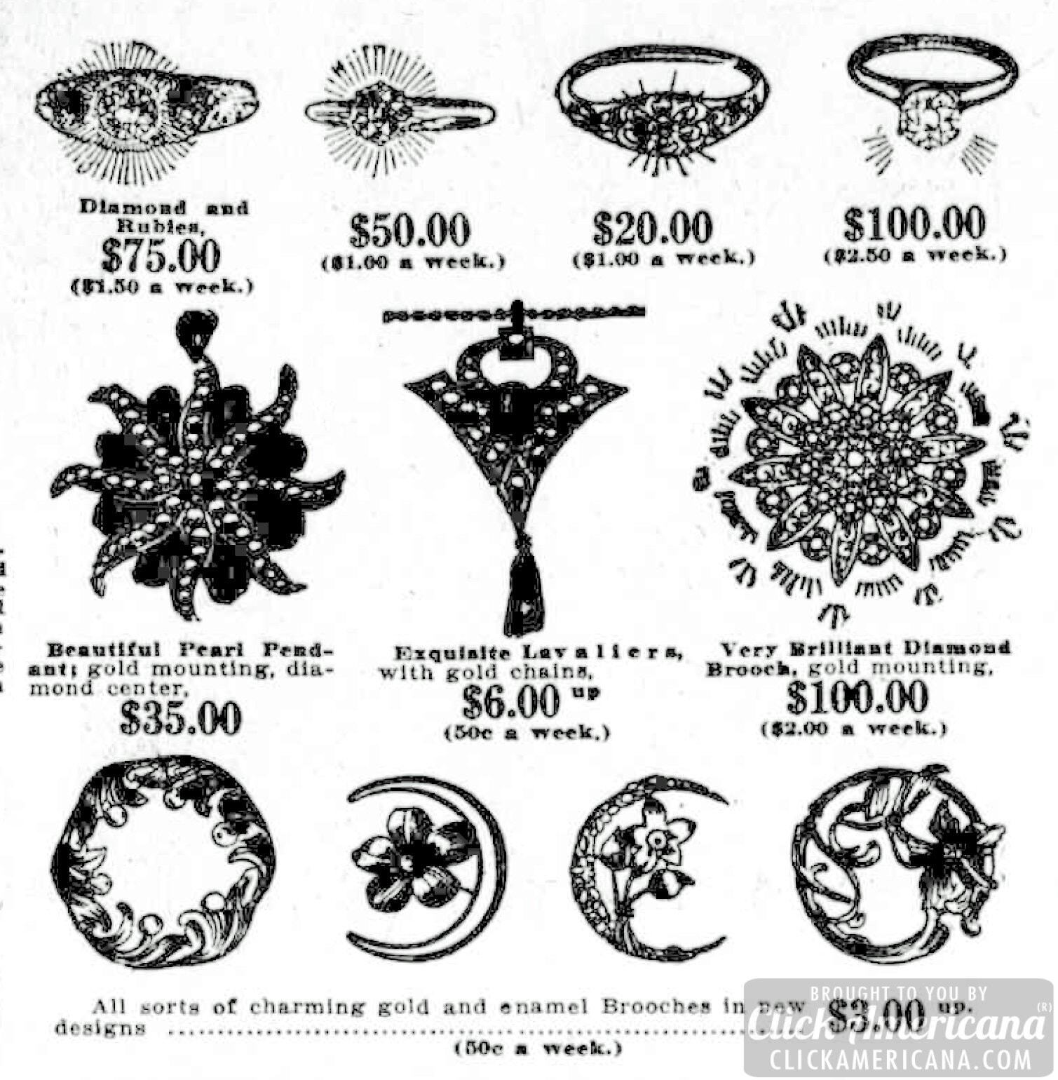 Antique jewelry designs: Rings, pendants, brooches (1911)