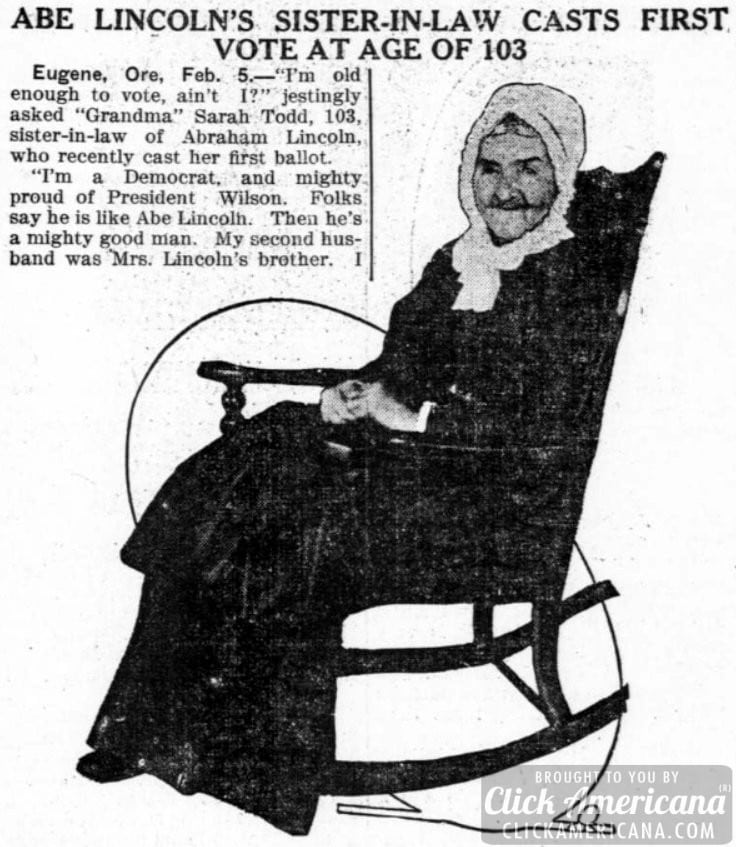 Lincoln's sister-in-law casts first vote at 103 (1914)