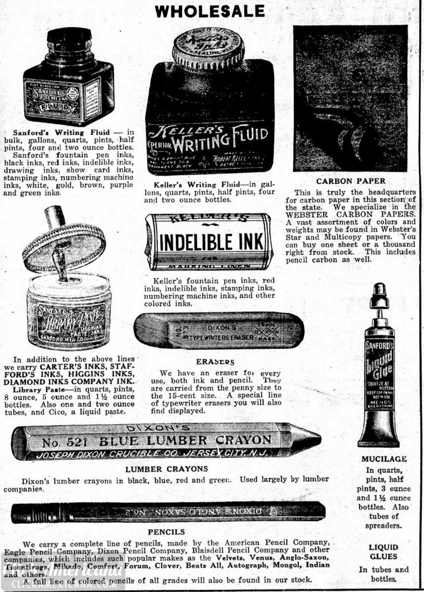 Vintage stationery, school & office supplies (1918)