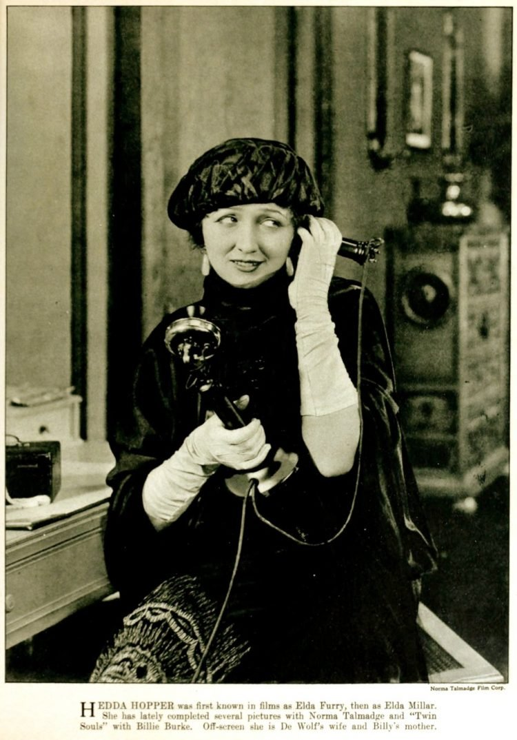 1920s actress Hedda Hopper on the phone