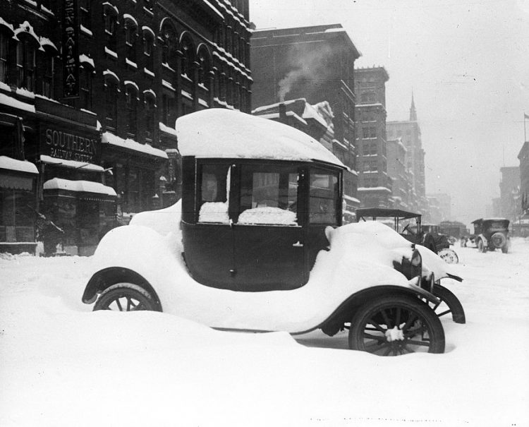 1922 Car covered in snow