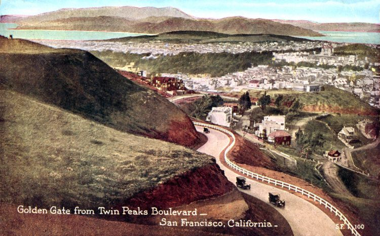 1922 Golden Gate from Twin Peaks Boulevard--San Francisco, California
