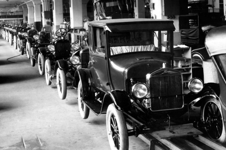 Ford Model T assembly line in 1926