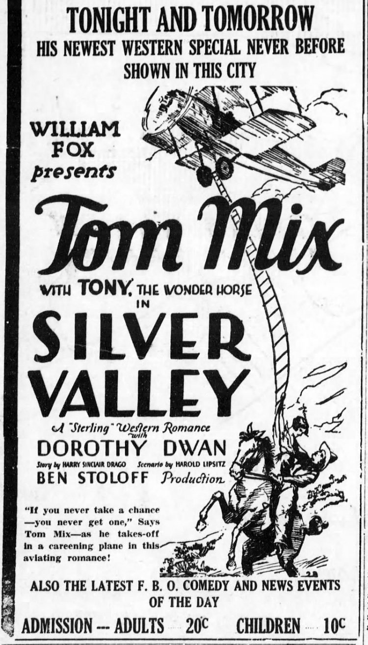 1928 ad for Tom Mix in Silver Valley movie