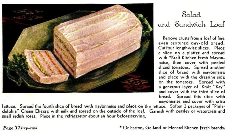 1930s salad and sandwich loaf