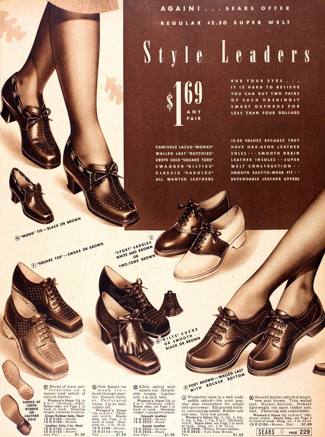 1930s shoes for women from 1939