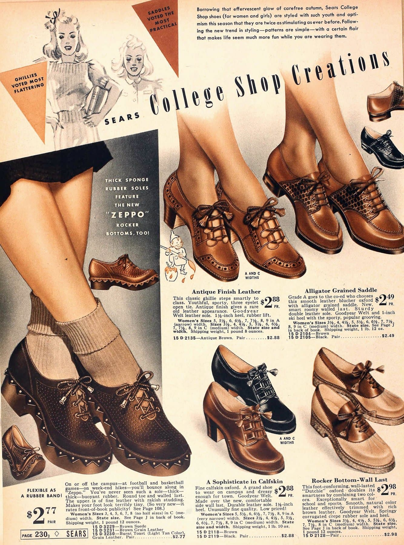 Juniors shoes for college-age girls of the '30s (1939)