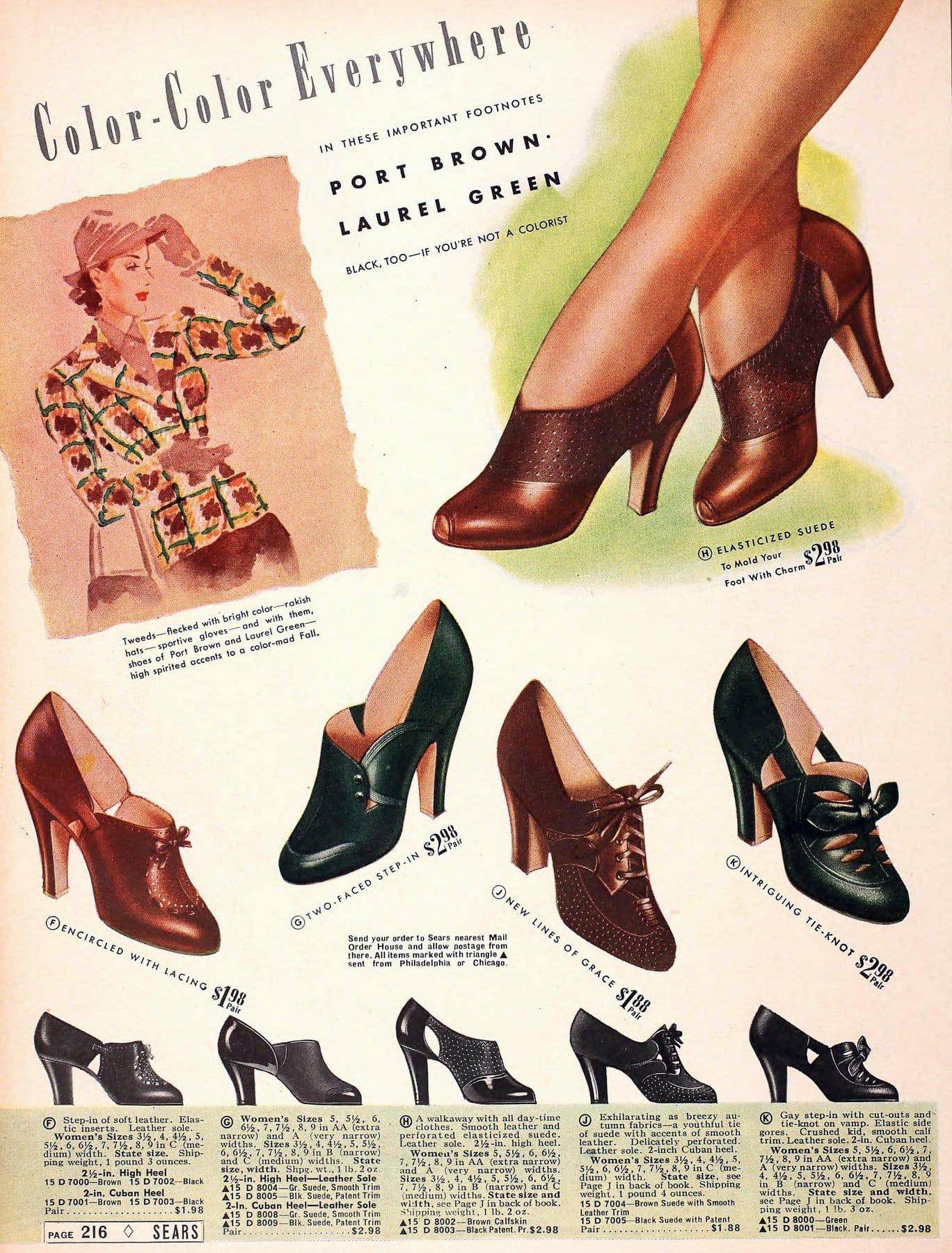 Port brown & Laurel green shoes (1939)