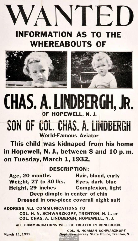Wanted poster: Lindbergh Baby kidnapping (1932)