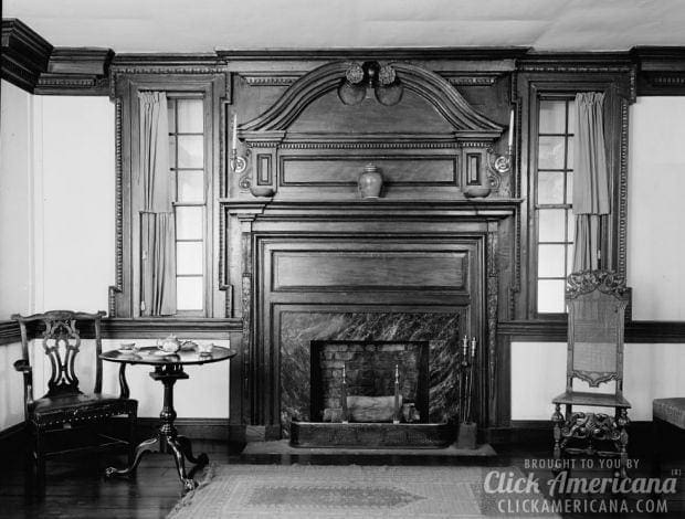 3. Fireplace in the Cupola House (photo from 1936) - 15 Fantastic Old-fashioned Fireplaces - Click Americana