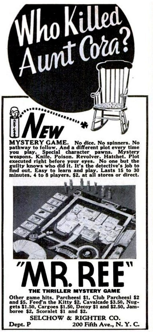 1937 Mr Ree Thriller Mystery game - Board games