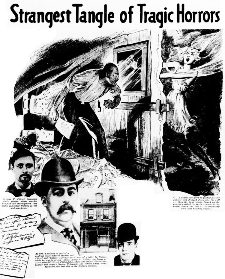 1937 Philadelphia Inquirer H H Holmes murder illustration - Strangest tangle of tragic horrors