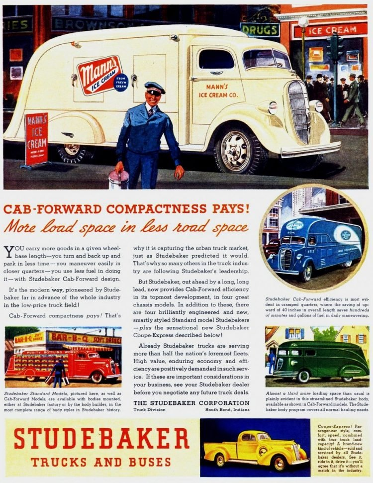 Studebaker trucks with cab-forward compactness pays (1937)